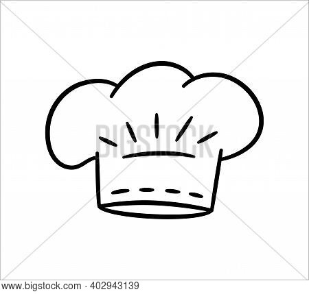 Uniform Caps For Kitchen Staff In Doodle Style. Classic Chef Toque And Baker Hat. Vector Hand Drawn
