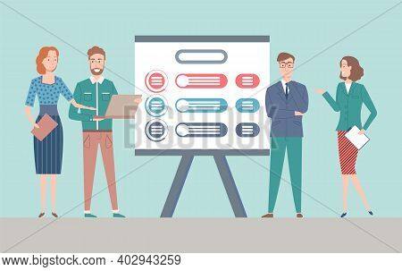 Business Project Presentation Vector, Man And Woman With Reports And Documents Showing Info Charts A