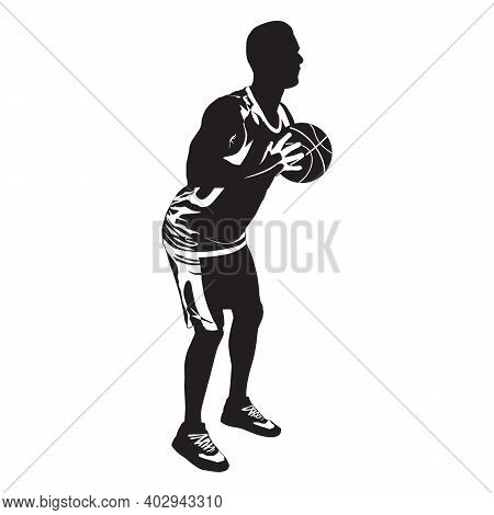 Basketball Skill And Shooting Technique. Young Man Athlete, Professional Basketball Player Silhouett