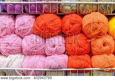 Counter In Shop For Knitting And Needlework With Coils Colored Wool Yarn. Different Bright Colors Th