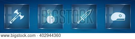 Set War Axe, Bomb Ready To Explode, Sword And Military Beret. Square Glass Panels. Vector
