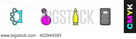 Set Brass Knuckles, Bomb Ready To Explode, Bullet And Military Assault Shield Icon. Vector