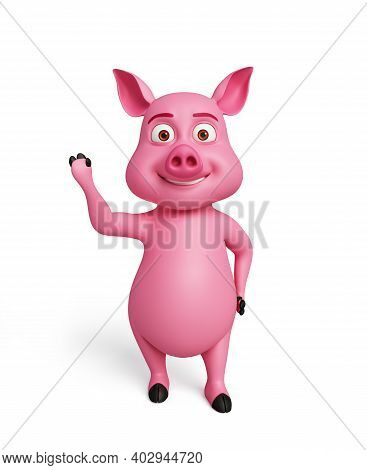 3d Rendered, 3d Illustration Of Pig With Hi Pose.