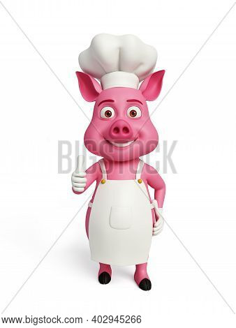 3d Rendered, 3d Illustration Of Chef Pig With Thumbs Up Pose.