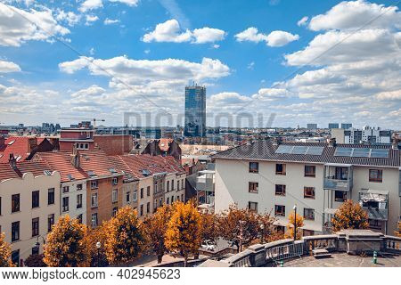 Cityscape Of Brussels In A Beautiful Autumn. Day
