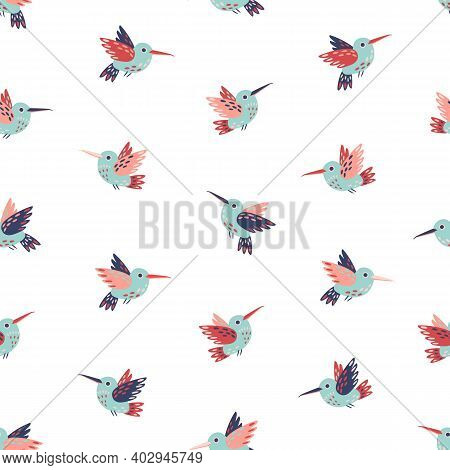 Colibri Birds Flying Summer Seamless Vector Pattern. Colorful Blue, Pink, And Red Flying Birds Illus