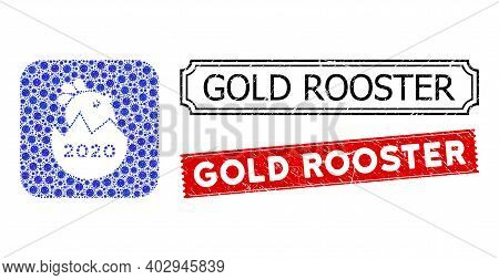 Vector Collage 2020 Hatch Chick And Grunge Gold Rooster Stamps. Mosaic 2020 Hatch Chick Designed As