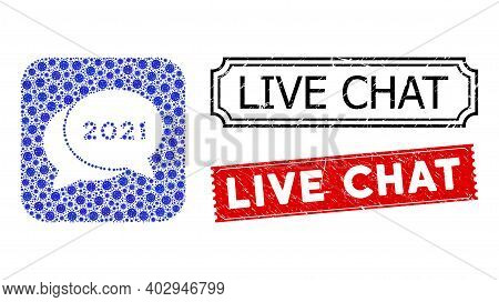 Vector Mosaic 2021 Chat Messages And Grunge Live Chat Seal Stamps. Mosaic 2021 Chat Messages Created