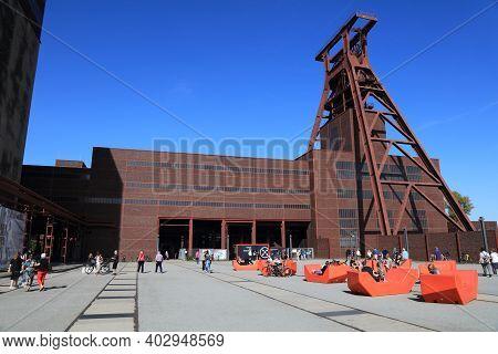 Essen, Germany - September 20, 2020: People Visit Zollverein In Essen, Germany. Zollverein Is Former