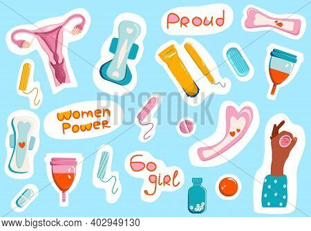 Proud To Be Woman Stickers Collection.female Hygiene.clip Art Set Of Menstruation And Periods Produc