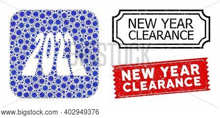 Vector Collage 2022 Perspective Digits And Grunge New Year Clearance Seals. Mosaic 2022 Perspective