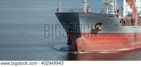 Closeup Of Multipurpose Ship Bulbous Bow Underway.