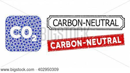 Vector Mosaic Co2 Formula And Grunge Carbon-neutral Seal Stamps. Mosaic Co2 Formula Created As Stenc