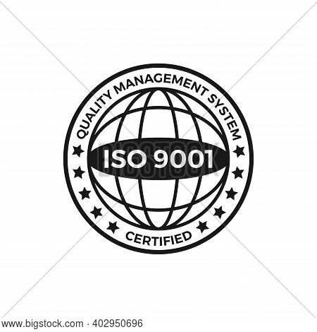 Iso 9001 Certified Label, Vector Illustration. Iso 9001 Standard Certified Icon Vector On White Back