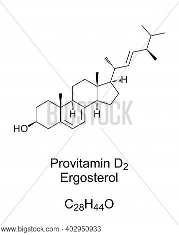Ergosterol, A Provitamin Form Of Vitamin D2, Chemical Structure And Skeletal Formula. A Sterol, Foun