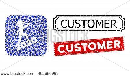 Vector Mosaic Gentleman Climbing 2020 And Grunge Customer Stamps. Mosaic Gentleman Climbing 2020 Des