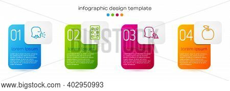 Set Line Man Coughing, Pills Blister Pack, Vomiting Man And Apple. Business Infographic Template. Ve