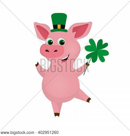 St. Patrick's Day Vector Illustration. Pig Wearing Leprechaun Hat. Cartoon Pig With Clover. Good Luc