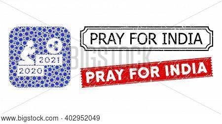 Vector Mosaic Man Pray Ripple 2021 And Grunge Pray For India Seal Stamps. Mosaic Man Pray Ripple 202