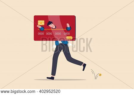 Credit Card Debt, Overspending Problem, Financial Failure Or Too Much Cost And Expense Concept, Brok