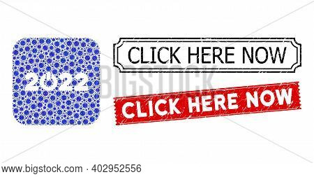 Vector Mosaic Start 2022 Caption And Grunge Click Here Now Seal Stamps. Mosaic Start 2022 Caption Cr