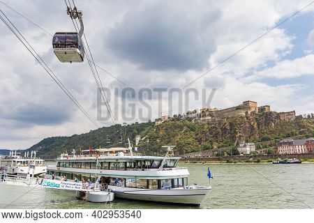 Koblenz, Germany - August 03, 2019: Cruiseboat And Cable Car At The River Rhine In Koblenz, Germany