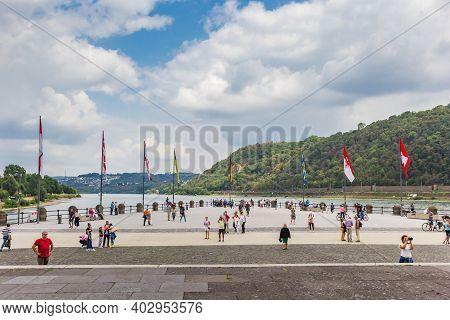 Koblenz, Germany - August 03, 2019: People At The German Corner In Koblenz, Germany