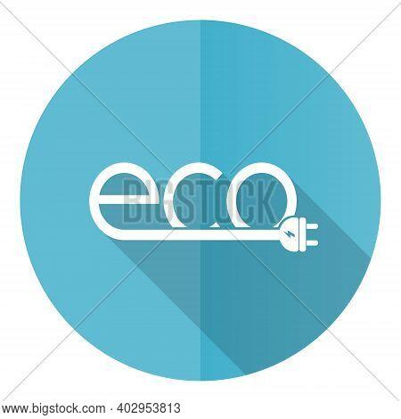 Ecology Plug Blue Round Flat Design Vector Icon Isolated On White Background