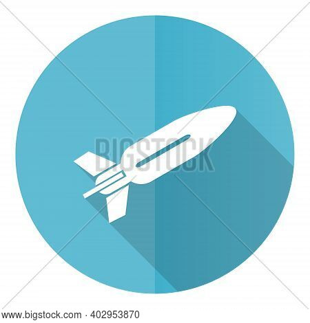 Missile Blue Round Flat Design Vector Icon Isolated On White Background, Rocket, Weapon, War Illustr
