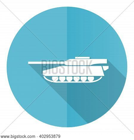 Tank Blue Round Flat Design Vector Icon Isolated On White Background, Army, Military, War Vehicle Il