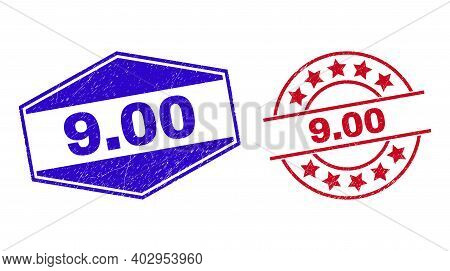 9.00 Stamps. Red Circle And Blue Flattened Hexagon 9.00 Seal Stamps. Flat Vector Textured Seal Stamp