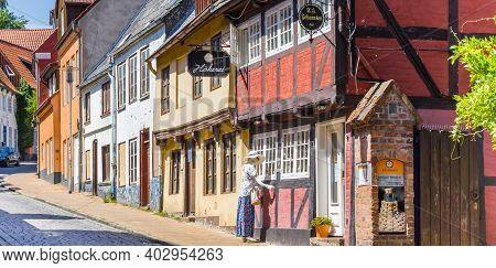 Flensburg, Germany - June 25, 2019: Panorama Of The Half Timbered House Of The Rum Factory In Flensb