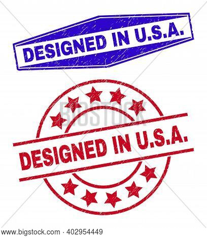 Designed In U.s.a. Stamps. Red Circle And Blue Compressed Hexagon Designed In U.s.a. Seal Stamps. Fl