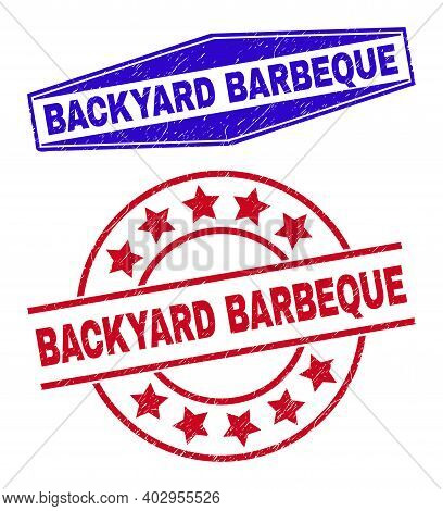 Backyard Barbeque Stamps. Red Round And Blue Extended Hexagonal Backyard Barbeque Rubber Imprints. F