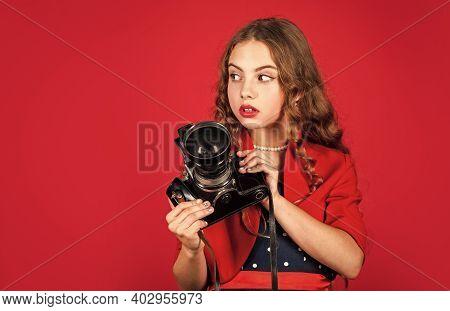 Learn Use Presets. Editing Photos. Manual Settings. Professional Camera. Girl With Retro Camera. Cap