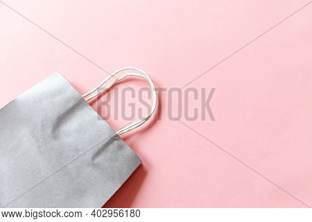 Simply Minimal Design Shopping Bag Isolated On Pink Pastel Background. Online Or Mall Shopping Shopa
