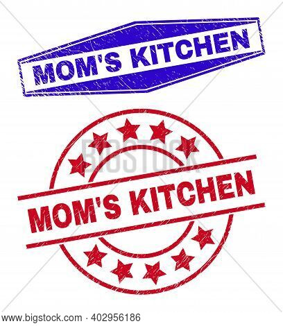 Moms Kitchen Stamps. Red Circle And Blue Compressed Hexagon Moms Kitchen Rubber Imprints. Flat Vecto