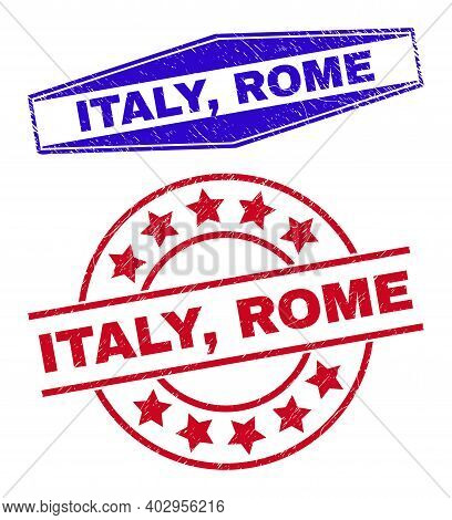 Italy, Rome Stamps. Red Rounded And Blue Stretched Hexagonal Italy, Rome Seal Stamps. Flat Vector Gr