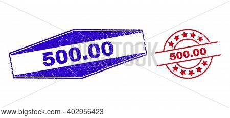 500.00 Stamps. Red Round And Blue Stretched Hexagon 500.00 Watermarks. Flat Vector Textured Stamps W