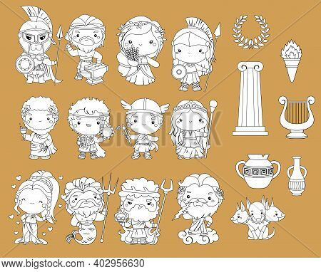 A Vector Of Many Greek Gods In Black And White Colour