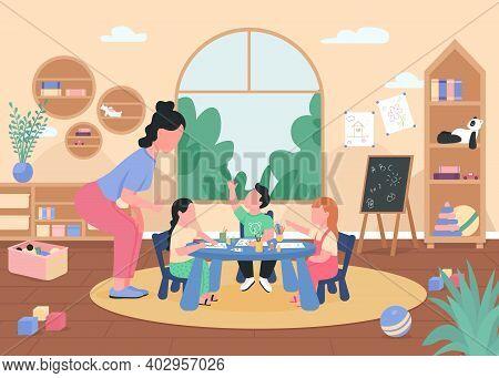 Art Class In Kindergarten Flat Color Vector Illustration. Preschool Lesson. Children Drawing At Tabl