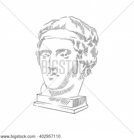 Black Graphic Art Image Of Antique Head Sculpture On White Background. Sketch Hand Drawing Illustrat