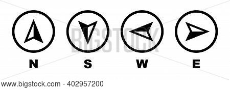 Vector Compass Icons Of North, South, East And West Direction. Map Symbol. Arrow Icon. Vector Illust
