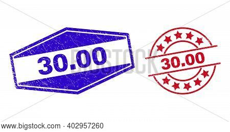 30.00 Stamps. Red Circle And Blue Extended Hexagon 30.00 Rubber Imprints. Flat Vector Distress Seals