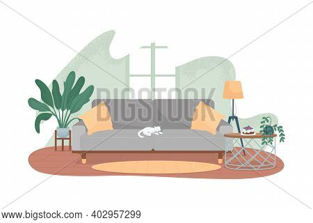 Modern Living Room 2d Vector Web Banner, Poster. Cat On Grey Sofa. Cosy Living Area. Contemporary Ap