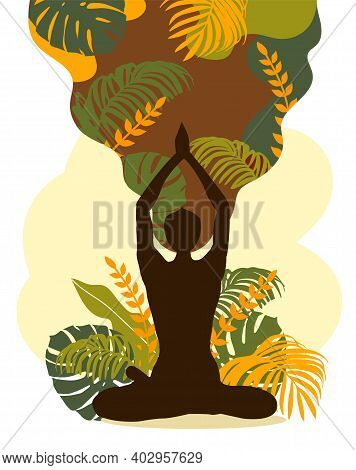 Woman Sitting In Lotus Position. Meditation, Yoga And Mindfulness. Vector Illustration
