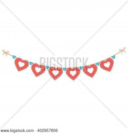 Romantic Festive Garland Of Openwork Hearts, Vector Illustration, Icon, Coloring, Decor, Design, Dec