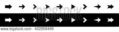 Arrow Icons Set. Collection Black And White Arrow. Modern Flat Simple Arrows Isolated.