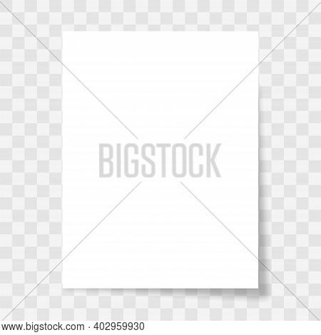 Blank Paper Sheet With Shadow On Transparent Background. White Piece Page Different Shapes. 3d Reali