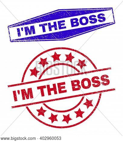 Im The Boss Badges. Red Rounded And Blue Compressed Hexagon Im The Boss Watermarks. Flat Vector Text